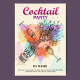 Bottiglia e vetro di Champagne con spruzzata sul fondo artistico dell'acquerello del poligono Manifesto del partito di discoteca  illustrazione di stock