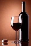 Bottiglia e vetro di vino Fotografie Stock Libere da Diritti
