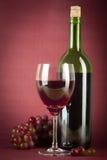 Bottiglia e vetro di vino Immagini Stock