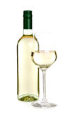 Bottiglia e vetro di vino bianco Fotografie Stock