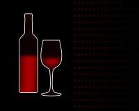 Bottiglia e vetro di vino di vettore Immagine Stock
