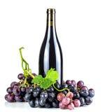 Bottiglia ed uva del vino rosso Fotografia Stock Libera da Diritti