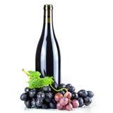 Bottiglia ed uva del vino rosso Immagini Stock Libere da Diritti