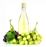 Bottiglia ed uva di vino bianco Fotografia Stock