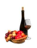Bottiglia nera con bicchiere di vino Immagini Stock