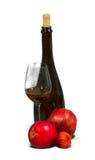 Bottiglia nera con bicchiere di vino Fotografia Stock Libera da Diritti