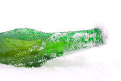 Bottiglia in neve Immagine Stock Libera da Diritti
