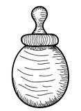 Bottiglia per il latte del bambino disegnato a mano Immagine Stock