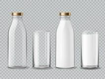 Bottiglia per il latte e vetro Modello isolato realistico di vettore della bevanda della latteria dei vetri da bottiglia del latt illustrazione vettoriale