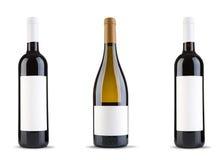 Bottiglia tre di vino Fotografie Stock Libere da Diritti