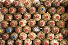Bottiglia variopinta per l'azienda agricola del fungo Fotografie Stock Libere da Diritti