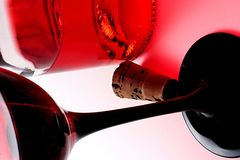 Bottiglia, vetro e sughero Fotografia Stock
