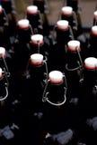 Bottiglie con alcool casalingo Fotografia Stock