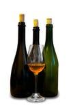 Bottiglie con bicchiere di vino Fotografia Stock