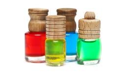 Bottiglie con gli oli di basi Fotografie Stock Libere da Diritti
