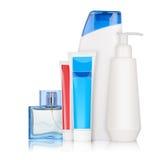 Bottiglie con i cosmetici Fotografia Stock