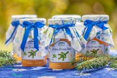 Bottiglie con la gelatina del limone e del pino Fotografie Stock