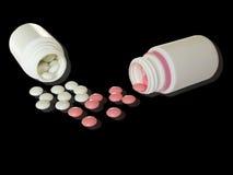 Bottiglie con le pillole Fotografia Stock Libera da Diritti