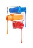 Bottiglie con lo smalto di chiodo rovesciato Fotografie Stock