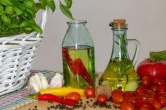 Bottiglie con olio condito immagini stock libere da diritti