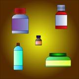 Bottiglie cosmetiche e mediche messe Fotografia Stock Libera da Diritti