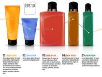 Bottiglie cosmetiche isolate, illustrazione di vettore Colore co del primo piano Fotografie Stock Libere da Diritti