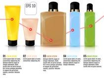Bottiglie cosmetiche isolate, illustrazione di vettore Colore co del primo piano Immagini Stock