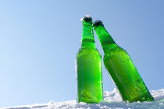 Bottiglie da birra in neve immagini stock