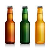 Bottiglie da birra verdi e marroni Fotografia Stock Libera da Diritti