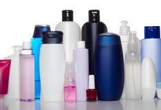 Bottiglie dei prodotti di bellezza e di salute Fotografia Stock