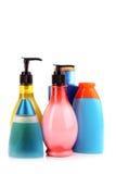 Bottiglie dei prodotti di bellezza e di salute Fotografie Stock Libere da Diritti