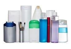 Bottiglie dei prodotti di bellezza e di salute Fotografia Stock Libera da Diritti
