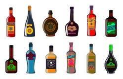 Bottiglie del liquore messe: illustrazione del whiskey delle bevande alcoliche Fotografia Stock