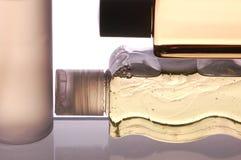 Bottiglie del primo piano tre Fotografia Stock