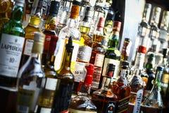 Bottiglie dell'alcool Immagini Stock