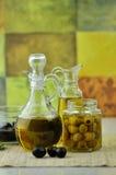 Bottiglie dell'olio di oliva Immagini Stock Libere da Diritti