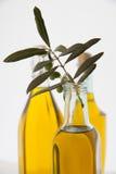 Bottiglie dell'olio di oliva su priorità bassa bianca Fotografia Stock Libera da Diritti