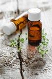 Bottiglie dell'olio essenziale del timo Fotografie Stock