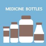 Bottiglie della medicina, icona dell'illustrazione di vettore Fotografia Stock Libera da Diritti
