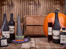 Bottiglie della pozione con il cappello delle streghe Immagine Stock