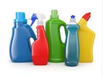 Bottiglie detersive di plastica. Prodotti di pulizia. Immagini Stock Libere da Diritti