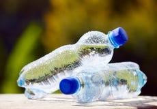 Bottiglie di acqua minerale sul fondo della natura Immagini Stock Libere da Diritti