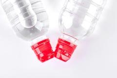 Bottiglie di acqua, vista superiore Fotografia Stock