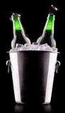 Bottiglie di birra in secchiello del ghiaccio Fotografie Stock
