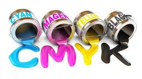 Bottiglie di inchiostro nei colori del cmyk royalty illustrazione gratis