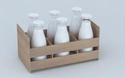 Bottiglie di latte fotografia stock