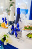 Bottiglie di nozze di champagne Immagine Stock
