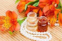 Bottiglie di olio essenziale Fotografia Stock