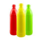 Bottiglie di plastica colorate Fotografie Stock Libere da Diritti