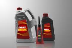 Bottiglie di plastica dall'olio dell'automobile Immagini Stock